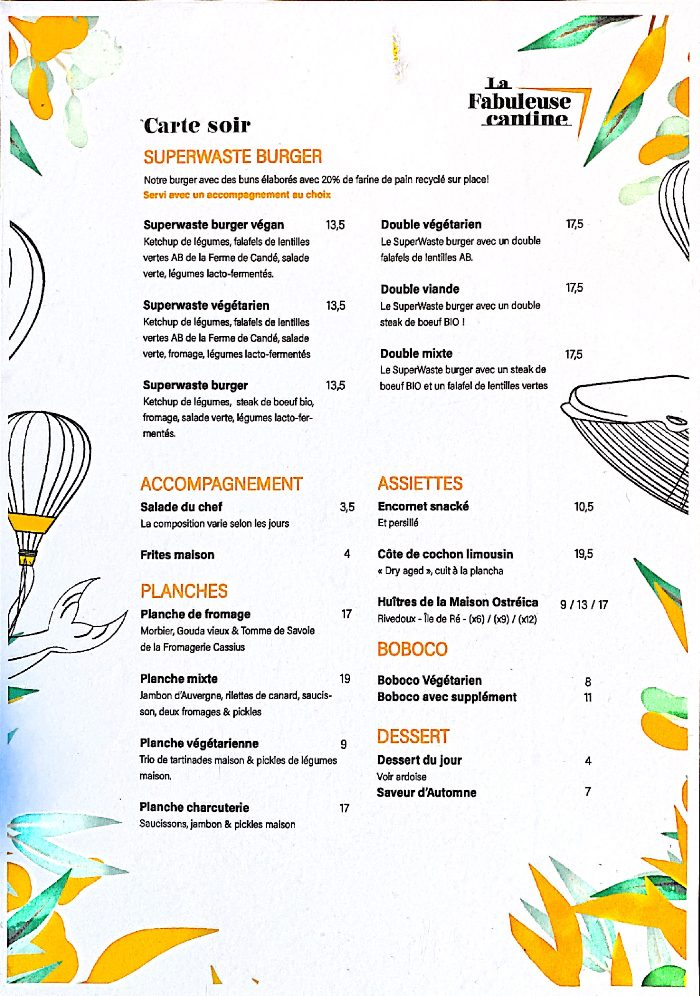 carte menus fabuleuse cantine